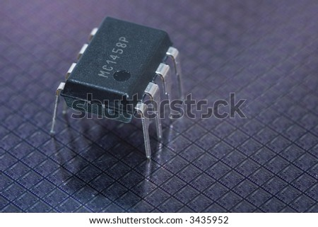 Integrated circuit on silicon wafers with chips - stock photo