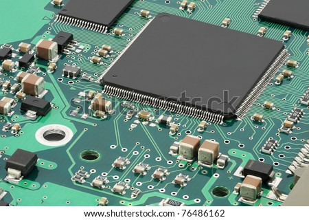 Integrated circuits on PCB - stock photo