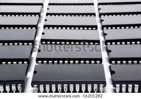 integrated circuits on white background - stock photo