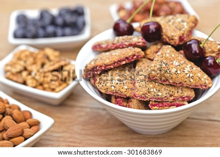 Integrated - integral fruit cake and ingredients - stock photo