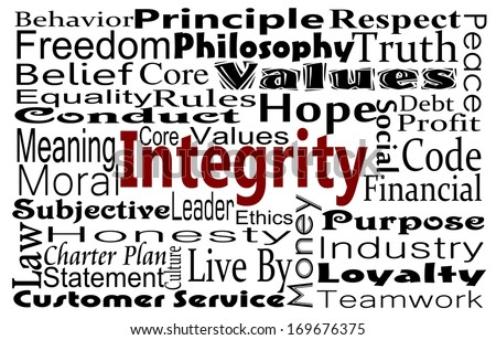 Integrity and honesty concept with word collage - stock photo