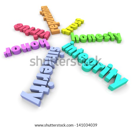 Integrity and related words such as honor, virtue, sincerity, honesty, trust and reputation in 3d letters on a white background to illustrate admirable skills in a person, leader or worker - stock photo