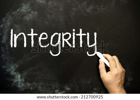 Integrity concept handwriting on blackboard