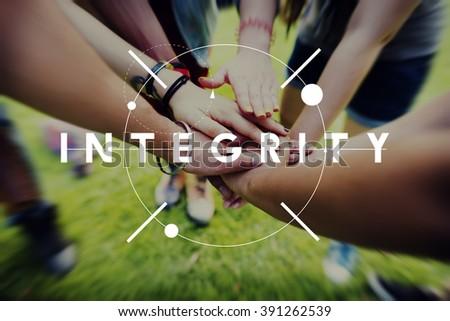 Integrity Fairness Honesty Loyalty Moral Motivation Concept - stock photo