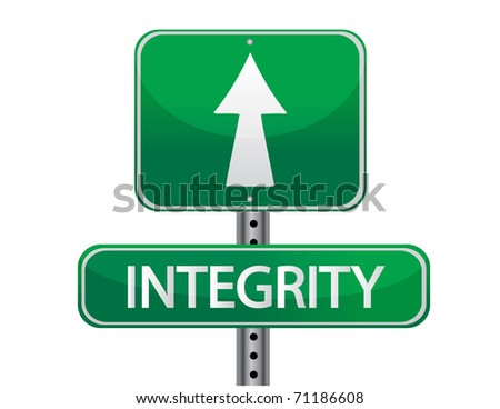 Integrity road sign isolated on a white background. - stock photo