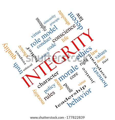 Integrity Word Cloud Concept angled with great terms such as virtue, code, conduct and more. - stock photo