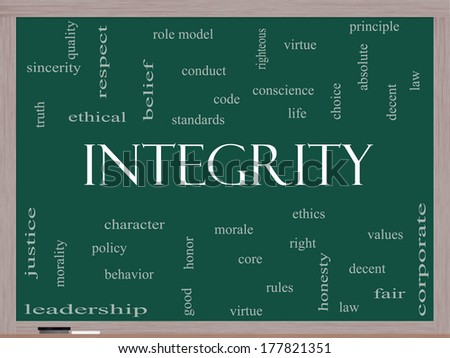 Integrity Word Cloud Concept on a Blackboard with great terms such as virtue, code, conduct and more. - stock photo