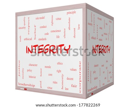 Integrity Word Cloud Concept on a 3D cube Whiteboard with great terms such as virtue, code, conduct and more. - stock photo
