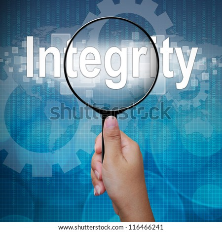Integrity, word in Magnifying glass ,business background