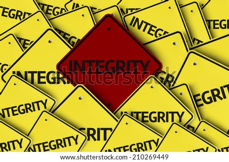 Integrity written on multiple road sign - stock photo