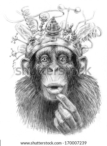 Intellect amplifier. Illustration of an ape with sci fiction device on its head. Pencil sketch on paper.  - stock photo
