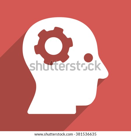 Intellect Mechanism long shadow glyph icon. Style is a flat light symbol on a red square background. - stock photo