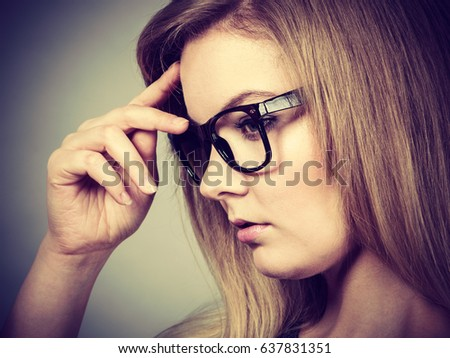 Intellectual expressions, being focused concept. Closeup of attractive woman thinking face expression