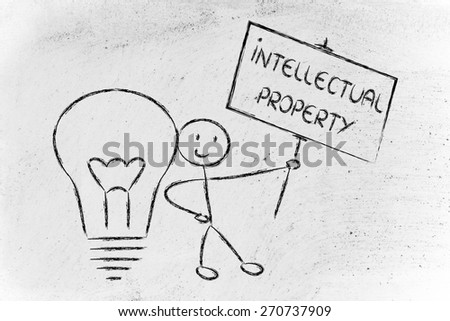 intellectual property and copyright ownership: funny character with lightbulb and sign - stock photo
