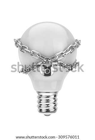 Intellectual property / 3D render of light bulb with lock and chain - stock photo