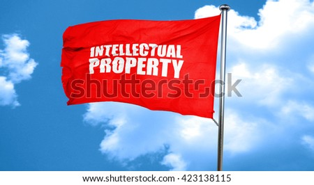 intellectual property, 3D rendering, a red waving flag - stock photo