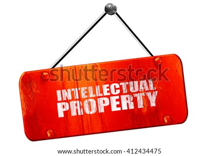 intellectual property, 3D rendering, vintage old red sign - stock photo