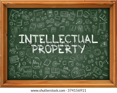 Intellectual Property - Hand Drawn on Chalkboard. Intellectual Property with Doodle Icons Around. 3d Render. - stock photo