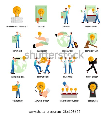 Intellectual Property Icons - stock photo