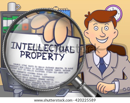 Intellectual Property on Paper in Businessman's Hand to Illustrate a Business Concept. Closeup View through Lens. Colored Modern Line Illustration in Doodle Style. - stock photo