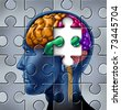 Intelligence and memory loss symbol represented by a multicolored human brain with a missing piece of a jigsaw puzzle. - stock vector