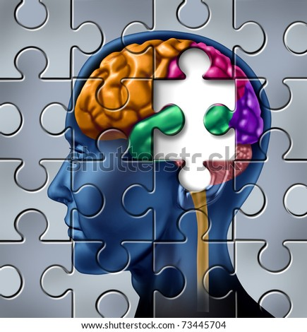 Intelligence and memory loss symbol represented by a multicolored human brain with a missing piece of a jigsaw puzzle.