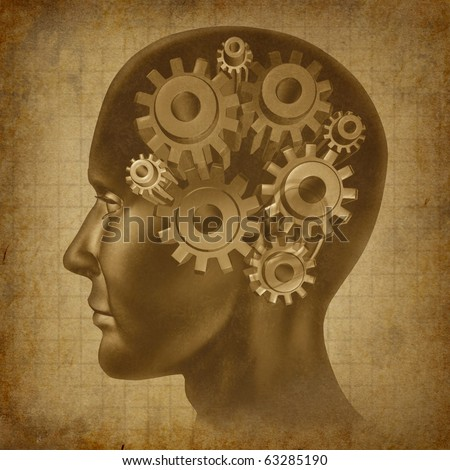 intelligence brain function mind ancient grunge old medical parchment - stock photo