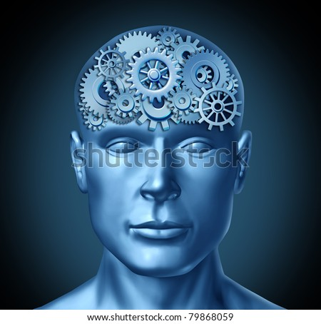 Intelligence brain function represented by a human head with gears and cogs showing brain health activity showing the concept of Alzheimer disease and neurology. - stock photo