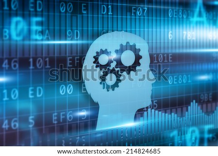 Intelligence concept blue head with cogwheels blue backround - stock photo