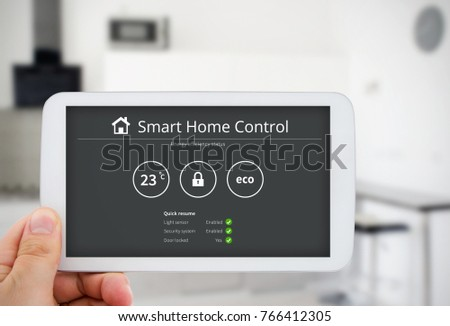 Intelligence home control technology. Remote automation system on mobile device. Eco and security solution