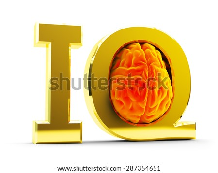 Intelligence quotient (IQ) test concept, brain inside gold letters isolated on white background - stock photo