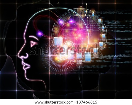 Intelligence series. Abstract design made of human head outlines, lights and fractal elements on the subject of intelligence, knowledge, education, science and technology - stock photo
