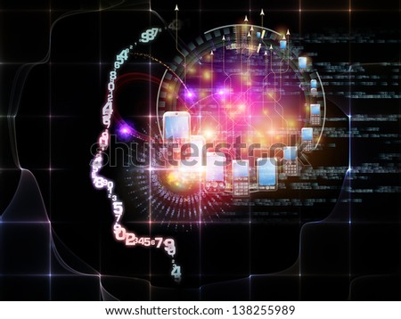 Intelligence series. Background design of human head outlines, lights and fractal elements on the subject of intelligence, knowledge, education, science and technology