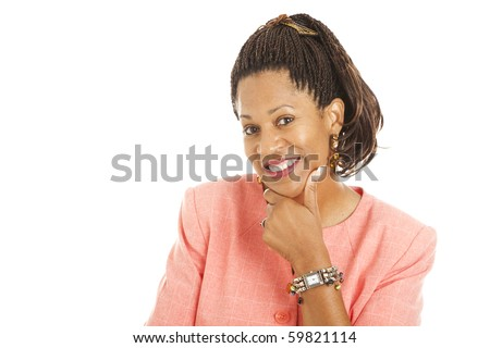 Intelligent, flirty african american businesswoman.  Isolated on white background. - stock photo