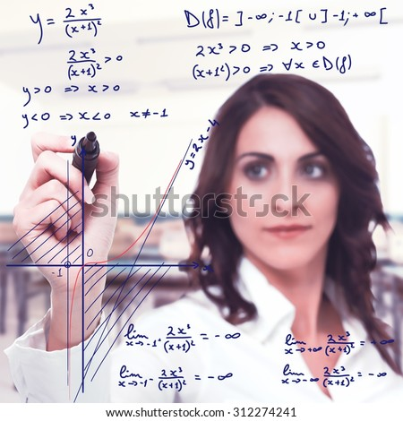 Intelligent woman solve a complicated mathematical function - stock photo