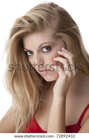 Intense close up of pretty teenage girl with big green eyes - stock photo