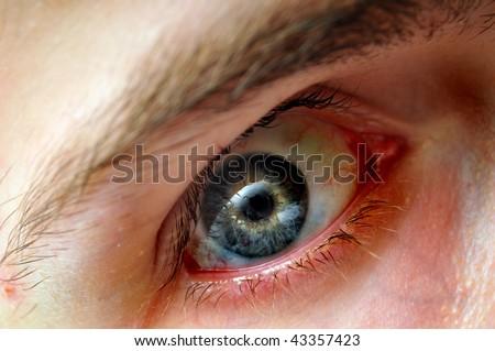 Intense closeup of white Caucasian's blue green yellow eyeball iris with blood vessels and viens. - stock photo