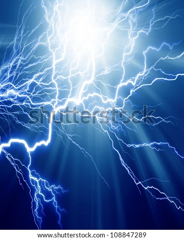 Intense electrical discharge on a dark background - stock photo