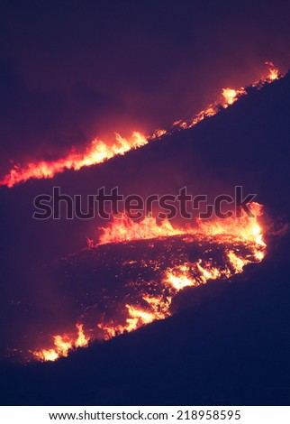 Intense flames from a massive forest fire. The Carlton Complex wild fire was Washington state's largest fire in history. flames light up the night as they rage thru pine forests and sage brush flats   - stock photo