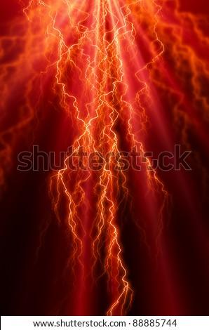 Intense lightning flash on a dark red  background - stock photo