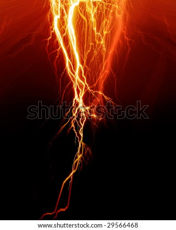 Intense lightning flash on a red background - stock photo