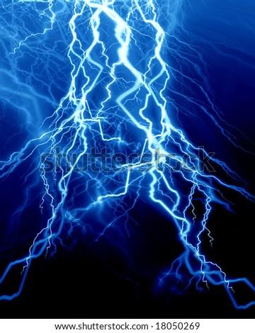 Intense lightning on a dark blue background - stock photo