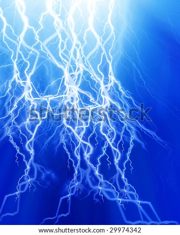 Intense lightning on a soft blue background