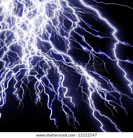 Intense lightning storm or electricity on a dark background