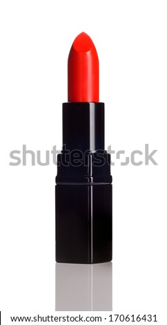 Intense red lipstick on white background. Make-up product. - stock photo