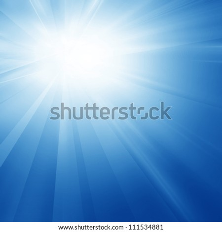 Intense sun on a soft blue background