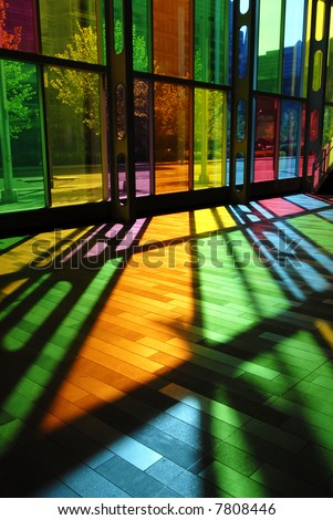 Intensely Colorful Stained Glass Pattern (Palais des Congres - Montreal, Canada) - stock photo