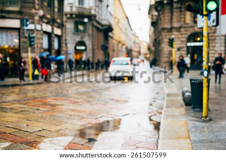 intentional blurred city and people urban milan scene background - those kind of images are strongly in demands - stock photo