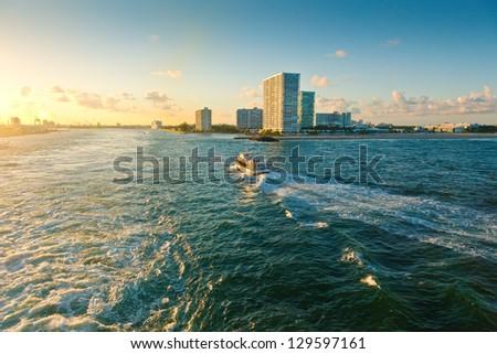 Inter-coastal waterway in Fort Lauderdale, Florida - stock photo