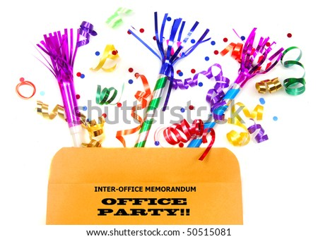Inter-office memo file with party favors for an office party - stock photo